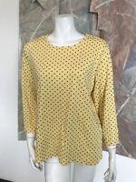 The Tog Shop Yellow Polkadot 3/4 Sleeve Shirt Top A9 Sz Large