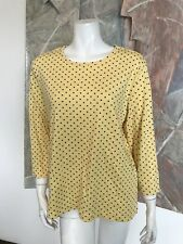 The Tog Shop Yellow Polkadot 3/4 Sleeve Shirt Top A9 Sz Large
