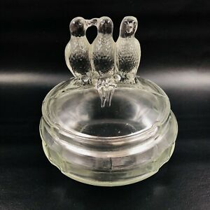 Vintage Clear Glass Candy Dish with Lid Three Birds on a Branch AS IS