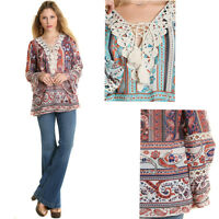 UMGEE Womens Boho Chic Sheer Paisley Long Bell Sleeves Blouse Top Shirt S M L