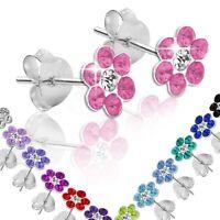 Ohrstecker Ohrringe 925 sterling Silber Blume rot weiß grün blau pink Kinder