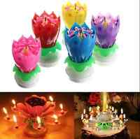 Musical Rotating Lotus Flower Happy Birthday Party Gift Candle Lights gift deco