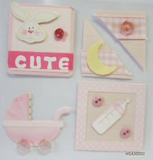 5 Adhesive Baby Girl Scrapbooking Embellishments for Craft & Card Making