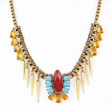 $55 Lucky Brand Gold Tone Red Turquoise Resin Stone & Spike Collar Necklace NEW