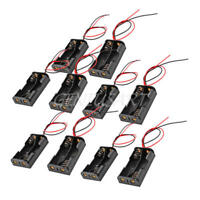 10x Wire Lead Black Plastic Battery Holder Box Storage Case DIY for 2 x 1.5V AA