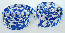 ROAD BIKE CORK HANDLEBAR TAPE PADDED BICYCLE BAR WRAP WHITE/BLUE MARBLE/CAMO