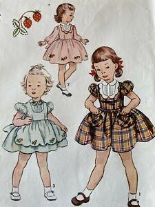 Vintage Simplicity 3757 Sewing Pattern Girl's Dress Sz 4 w/ Strawberry Transfer