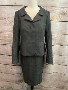 Ann Taylor Size 6 Two Piece Suit Blazer Skirt Set Black Gray Hidden Buttons