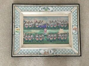 Antique 18th Century Chinese Pith Paper Painting, Framed. Depicting Warriors.