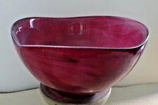Red Art Glass mid century bowl with translucent white swirls