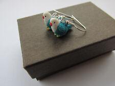 Budgie Handmade Miniature Blue Budgie Budgerigar Pet Bird Earrings Gift Boxed