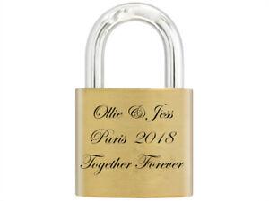 Love 30mm Lock, Personalised Engraved Padlock with Bride & Groom image