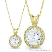Round Brilliant Cut Clear CZ Crystal 14mmx9mm Fashion Pendant in 14k Yellow Gold