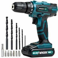 Mylek Cordless Drill 18V Driver Screwdriver DIY Kit Set Combi Lithium Ion