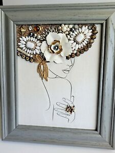 OOAK 8×10 Grey Wood Framed Jewelry Lady Of Spring Design By B Meyer Mother's Day