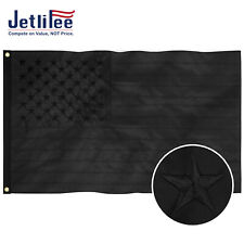 New Upgraded ALL Black American Flag US Flag Embroidered Stars UV Protection USA