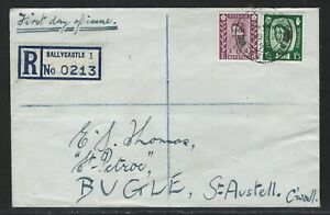 1958 Great Britain Northern Ireland Sc #3/5 (SG #NI3/NI5) FDC - 6d + 1sh3d QEII