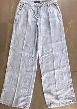 NEW - NEXT 12 long light blue wide leg lightweight linen blend jeans trousers