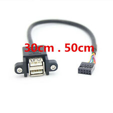 9 Pin Motherboard Header to 2 Port Dual USB 2.0 Cable with Screw Panel Holes