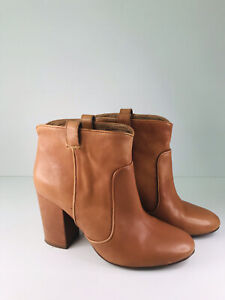Witchery Brown Leather Tammy Ankle Boots - Size 39