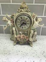 "Rare Vintage Lanshire Self Starting Table Clock Cherub Porcelain Angels Roses 9"""