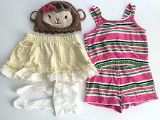 4 pc Baby Girls MONKEY HAT Gymboree GINGHAM SKIRT ROMPER Crazy 8 Lot 3-6 months