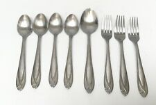 8 pc Hampton Silversmiths LACE Frosted Lot Of Forks Spoons