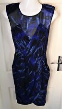 Whistles 100% Silk Blue Wrap Smart Shift Dress Pockets Pleated Size 8