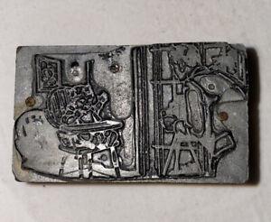 Vintage Printing Plate Block Letterpress Inked Stamp - Baby Image