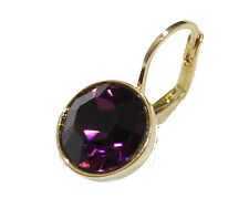 Swarovski Elements Amethyst Purple Bella Earrings Gold Plated Dangle Earrings
