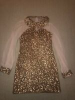 Rare London Gold Sequin Dress Christmas Party Size 8