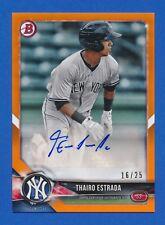 2018 Bowman #PA-TE ORANGE Thairo Estrada  RC ROOKIE AUTO New York Yankees 15/25