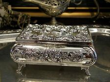 Silver Plated Roses Jewellery Box Music Box For Necklaces Vintage Baroque