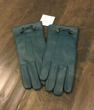 New Coach F20887 Women's Bow Leather Wool Lined Gloves Dark Teal Size 8 New