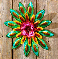 Outdoor Wall Art Decor Metal Hanging Flower Unique Yard and Garden Colorful