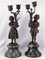 Antique~Vintage French Bronze Sculpture~Andre V. BECQUEREL~Pair Candle Holders