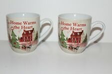 Fitz And Floyd set of 2 Christmas Home Warms The Heart Patchwork Mug / Cup