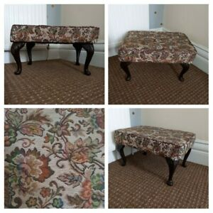 VINTAGE 1950s - Tapestry Floral Footstool Rest Seat Pouffe - Brown Cream Padded