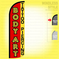 BODY ART TATTOO PIERCIING Windless Swooper Flag 3x11.5 ft Feather Banner Sign rq