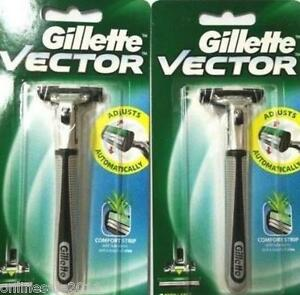 2x Gillette Vector Razor Razors Handle Pivots Holds Atra 2 Blades Free Ship