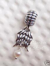 NEW Authentic PANDORA White Pearl GUARDIAN ANGEL Wings DANGLE Charm~Bead 790975P