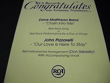 Dave Matthews Band John Pizzarelli 1997 Congrats Promo Display Ad mint condition