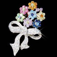 w Swarovski CRYSTAL ~Rainbow FLOWER BOUQUET~ Floral Pin Brooch Jewelry Xmas Gift