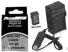 NP-90DBA Battery + Charger for Casio EX-FH100 EX-FH100BK EX-H15