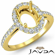 Diamond Engagement Filigree Ring Oval SemiMount 14k Yellow Gold Halo Pave 0.45Ct