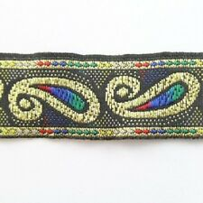 1METRES 18mm PATTERNED EMBROIDERED RIBBON TRIM COLOURED DESIGN FABRIC REB052