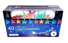 CHRISTMAS 40 LARGE FROSTED STARS MULTICOLOURED BATTERY OPERATED CHRISTMAS LIGHT