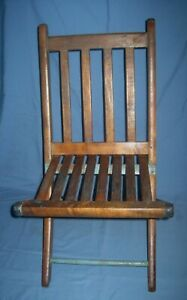 Vtg Antique Small Wood/Wooden Slat Folding/Collapsible Childs Chair!