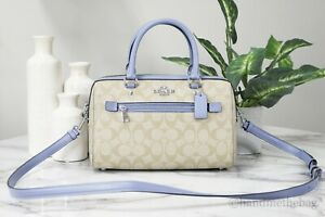 Coach F83607 Rowan Signature Leather Khaki Periwinkle Medium Satchel Handbag