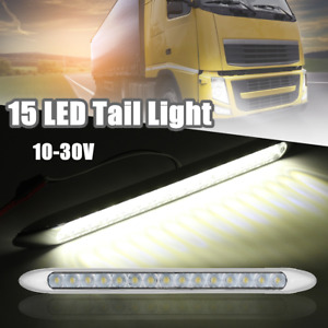 White 15 LED 10V-30V Reverse Tail Light Ultra-Slim Truck Trailer Caravan